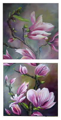 Diptyque Magnolia 30x60 huile sur toile, 2012 Vendu