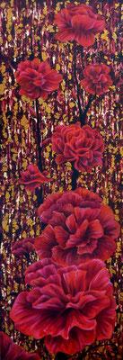 Oeillet rouge huile sur toile de lin et feuille de métal, 30x60cm 2012 Disponible.