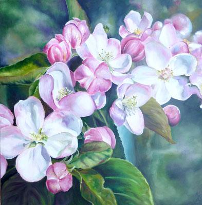 Pommier en fleur , Huile sur toile 60x60 cm, 2012.  Disponible