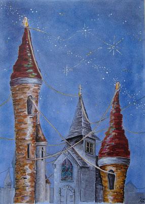 De clocher à clocher feutre sur papier 2008. texte: Arthur Rimbaud, lu par Enzo Amato