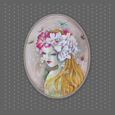 Shaé.  Dimension  40x50cm. signée et encadrée cadre ovale baroque ,  Disponible tarif 450€