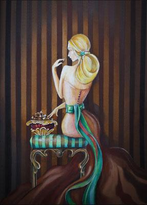 Chocolat Dimension de l'oeuvre 30x40cm. signée et encadrée cadre ovale , Vendu