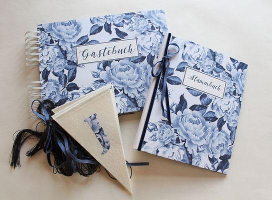 Gästebuch Stammbuch Wimpelgirlande Girlande HOchzeit Wedding Decoration Dekoration Blue Flower