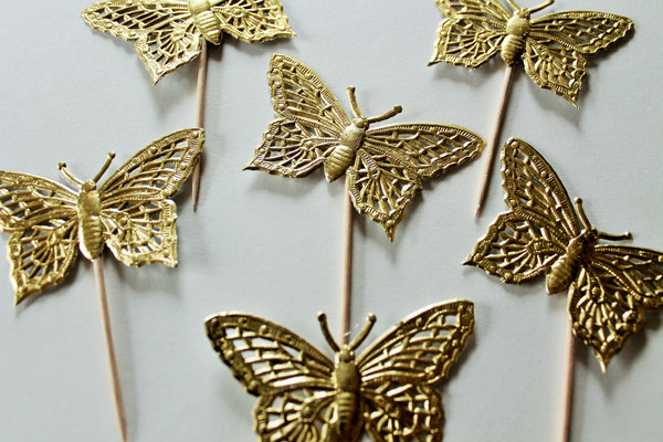 Cupcake Topper Schmetterling Butterfly Muffin Hochzeitsdekoration Gold