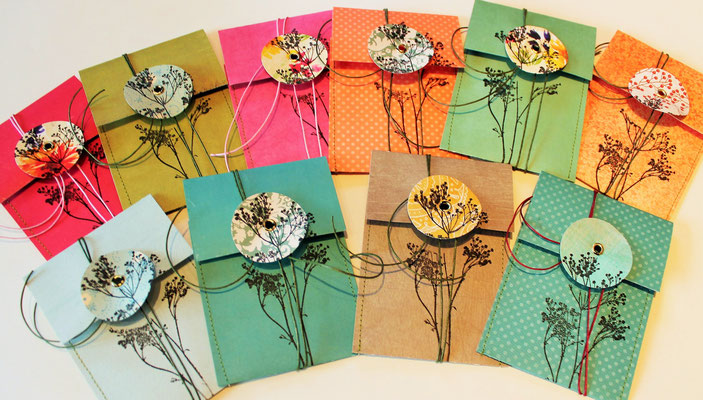 Minibriefe Kärtchen mit Umschlag Bestempelt