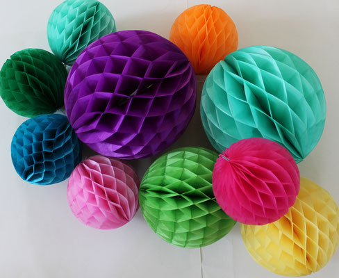 Wabenball Set / Papierball Set / Partydekoration / Kindergeburtstagsdeko,Pompons, Pompon