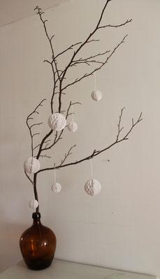 Wabenballset/ Papierball Weihnachtsdeko, Winterdeko, Winterdekoration Papier, Papierbälle, weiß , weiße Schneebälle Papier