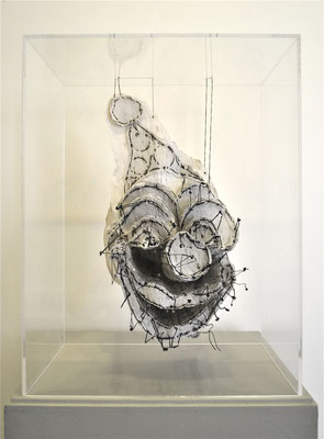 Masks, Printed papers, thread, plexiglass, 18.5 x 14 x 10 in, 2014