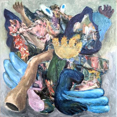 A joyful fairy, 2021, Oil, oil pastel on hand-sewn canvas, 10 x 10in