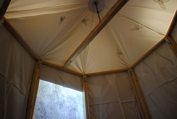 Circus tent (inside) , Hand-sewn printed fabric and wood, 8 x 11 feet in diameter, 2013