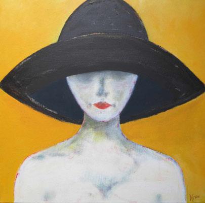 KW 03: Frau mit schwarzem Hut - Acryl 60 x60 cm