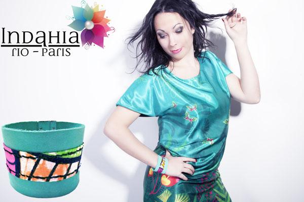 manchette cuir couleurs tropicales inspiration bresil rio paris idnahia creation