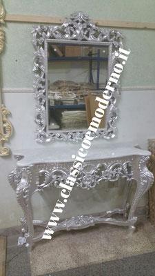 Consolle foglia argento L 140 H 220 (con specchiera,solo consolle 90) P 45 cm