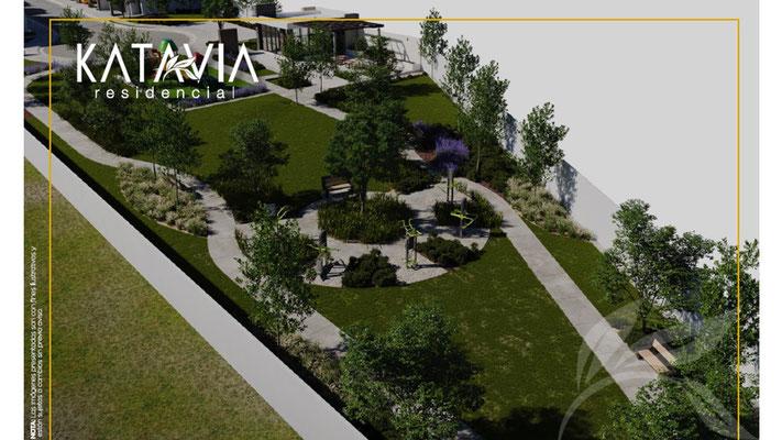 Render parque Katavia Residencial sector Niza