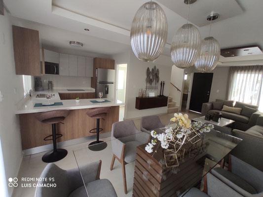 comedor y cocina casa modelo veneto brianzzas residencial escobedo nuevo leon