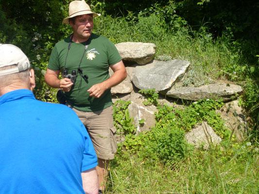 Daniel Mosimann vor einem Steinhaufen, in dem Zauneidechsen und Hermeline wohnen.
