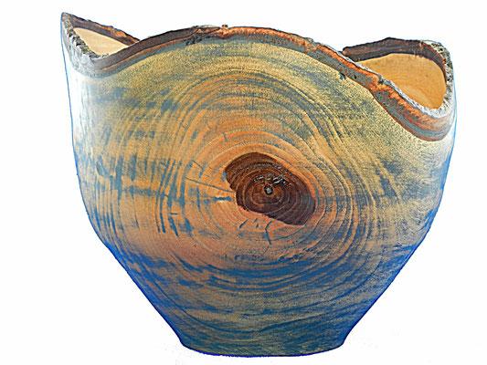 Schale 3: Nußbaum  H: 180 mm, Ø: 220 mm, coloriert, Wandstärke: 6 mm