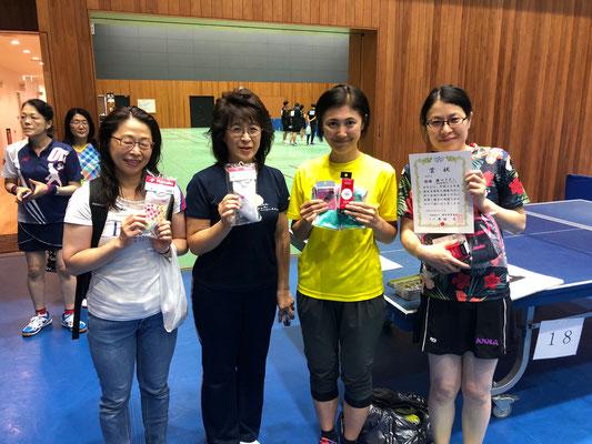 一般女子・入賞者:北川選手、稲垣選手、田中選手、瀬口選手