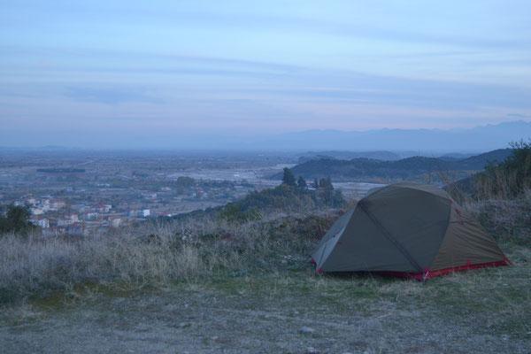 Schöner, aber ungeschickter Zeltplatz bei Meteora