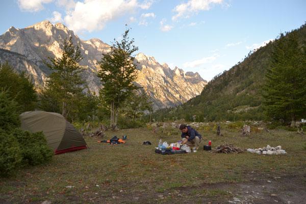 Unser bisher schönster Zeltplatz im Valbona-Tal