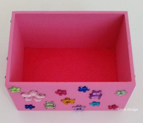 6. Holz Box mit Plastik-Glas Blümchen 2,90 €