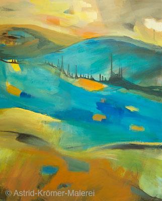 Astrid Krömer Malerei, Acylbild: Fluss, Leinwand 100x80cm, www.astrid-kroemer-malerei.de