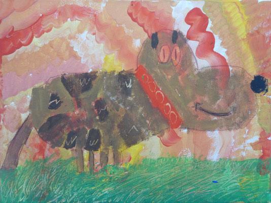 Im Workshop bei Astrid Krömer gemalt von Leif, 8 Jahre. www.astrid-kroemer-malerei.de