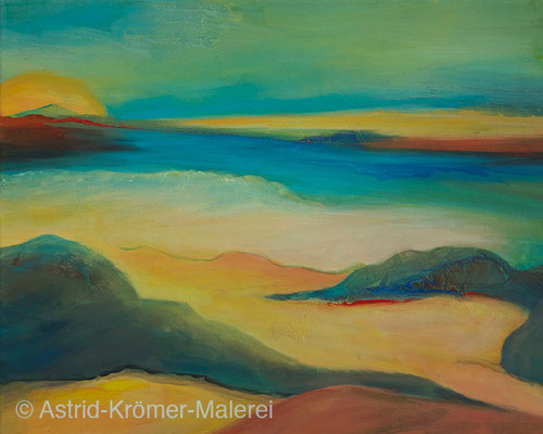 Astrid Krömer Malerei, Acylbild: Ruhiges Meer, Leinwand 40x50cm, www.astrid-kroemer-malerei.de