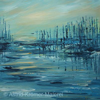 Astrid Krömer Malerei, Acylbild: Segelhafen, Leinwand 30x30cm, www.astrid-kroemer-malerei.de