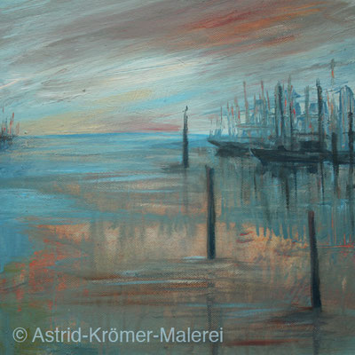 Astrid Krömer Malerei, Acylbild: Segelhafen am Abend, Leinwand 30x30cm, www.astrid-kroemer-malerei.de