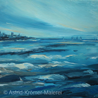 Astrid Krömer Malerei, Acylbild: Segler in der Ferne, Leinwand 30x30cm, www.astrid-kroemer-malerei.de