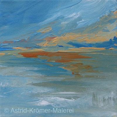Astrid Krömer Malerei, Acylbild: Kleine Landschaft3, Leinwand 15x15cm, www.astrid-kroemer-malerei.de