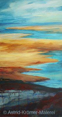Astrid Krömer Malerei, Acylbild: Ablaufendes Wasser, Leinwand 100x50cm, www.astrid-kroemer-malerei.de