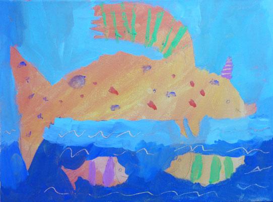 Im Workshop bei Astrid Krömer gemalt von Emma, 10 Jahre. www.astrid-kroemer-malerei.de
