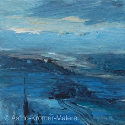 Astrid Krömer Malerei, Acylbild: Kleine Landschaft2, Leinwand 15x15cm, www.astrid-kroemer-malerei.de