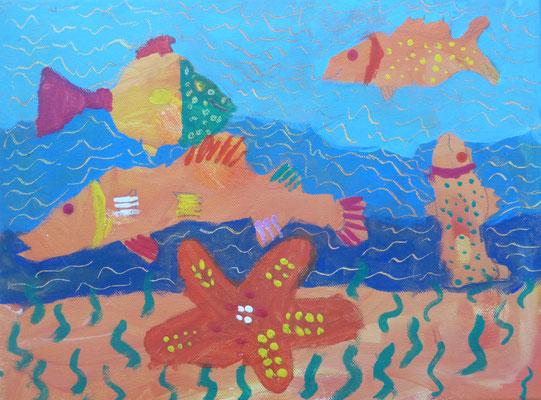 Im Workshop bei Astrid Krömer gemalt von Luisa, 8 Jahre. www.astrid-kroemer-malerei.de