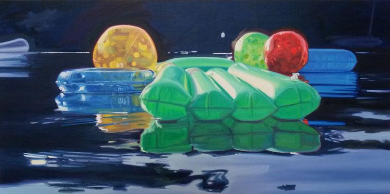 Cameron Rudd green lilo 2016 Öl auf Leinwand 50 x 100 cm