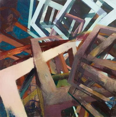 Christoph Kern Oszill 2014 Eitempera, Öl und Pigment auf Nessel 100 x 100 cm