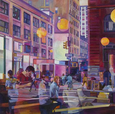 Felix Eckardt Yellow similarities in an urban dream 2016 Öl auf Leinwand 180 x 180 cm