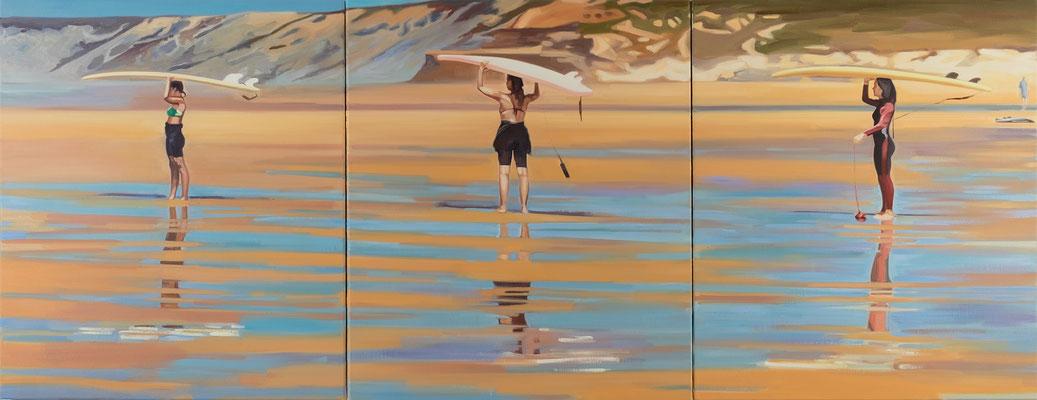 Cameron Rudd surf school 2017 Öl auf Leinwand auf Holz 70 x 183 cm