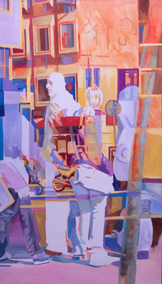 Felix Eckardt Lichtgestalten 2017 Öl auf Leinwand 150 x 85 cm