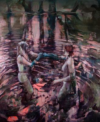 Justine Otto hidden persuaders 2016 Öl auf Leinwand 190 x 160 cm