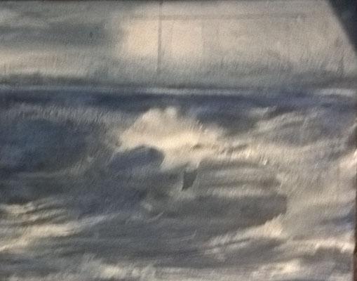 """""""Wellen"""", 30x40cm, Pigment auf Leinwand"""