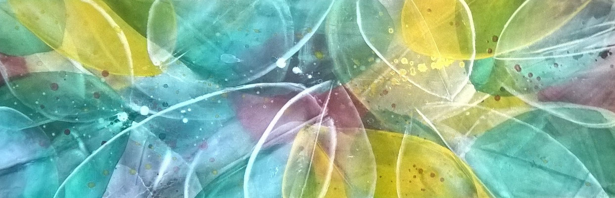 """""""Farben des Sommers II"""", 90 cm x 30 cm , Pigment auf Leinwand"""
