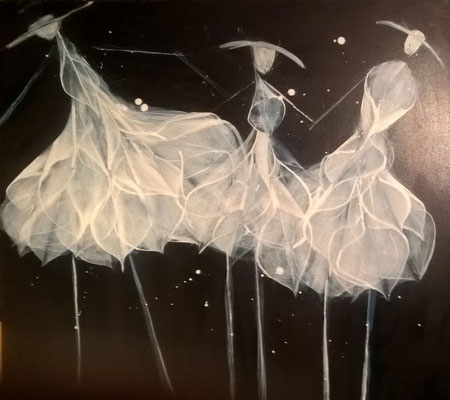 """Ballerinas"", 100 cm x 100 cm , Pigment auf Leinwand"