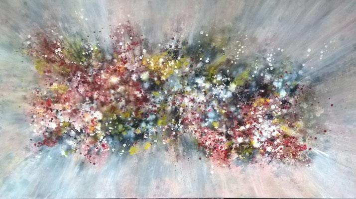 """""""Explosoin der Farben"""", 180 cm x 100 cm , Pigment auf Baumwolle"""