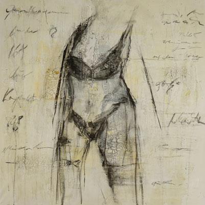"""baden"", 90x90 cm, Marmormehl, Acryl, Kohle auf Leinwand"