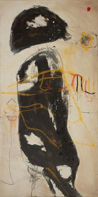 """Niesendes Insekt"" 140 x 70 cm Bitumen, Mormormehl, Acryl, Ölkreide"