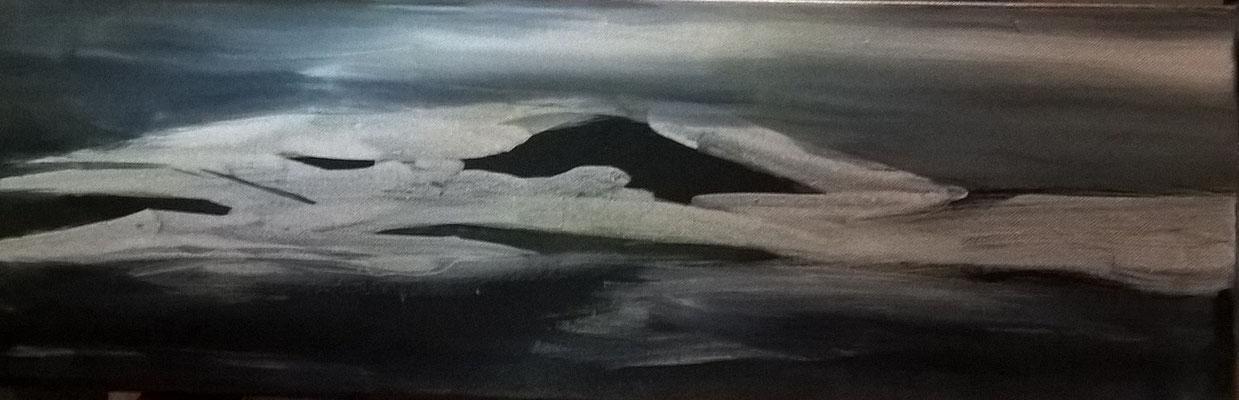 """""""Nachtlandschaft"""", 20x50 cm, Pigment auf Leinwand"""