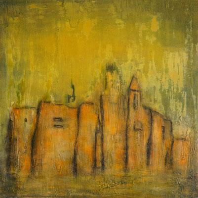 """""""Zwei Kirchen"""", 90 cm x 90 cm, Acry und Sand auf Leinwand"""